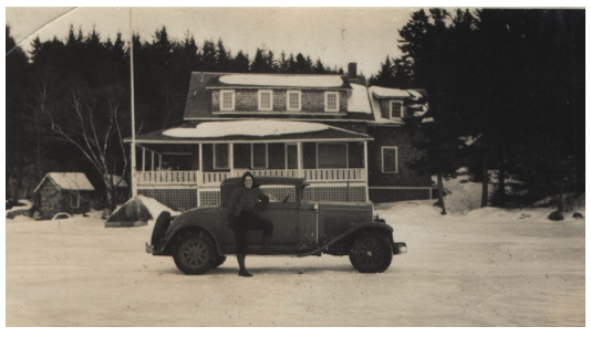 My mother (very brave) on ice (very thick) in front of Kill Kare - circa 1930's