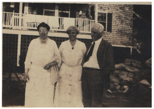 My grandparents, Catherine and Wilbur Smith, flanking an unidentified guest at Kill Kare circa 1920's.