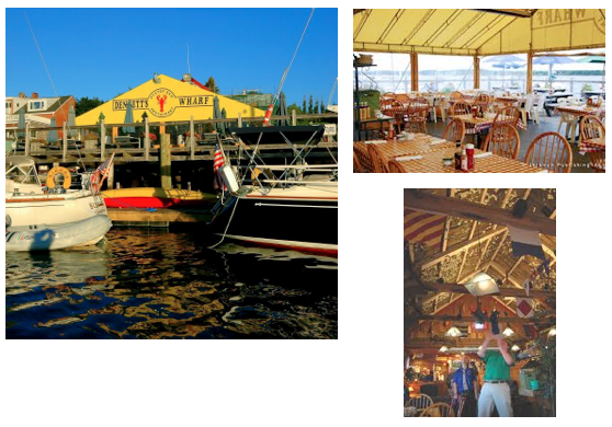Right on the water where the seafood is sure to be fresh.  Learn how to pitch a dollar bill onto the ceiling and have it stick!